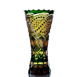 Хрустальная декоративная ваза «Вечер» цв.янтарно-зеленый