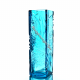 """Хрустальная ваза для цветов """"Мещера"""", ср., рис. «Произвольный» цв.бирюзовый"""