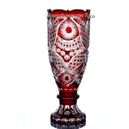 Хрустальная декоративная ваза-кубок «Восторг» цв.красный