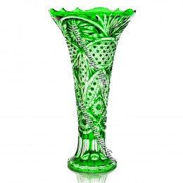 """Хрустальная ваза для цветов """"Петергоф"""" средняя цв.зеленый"""