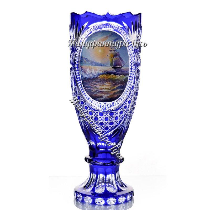 Хрустальная декоративная ваза-кубок «Восторг» с  живописью