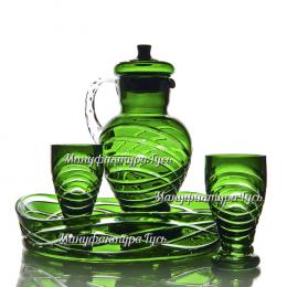 Хрустальный набор для воды «Вальс» (кувшин с крышкой,   4 стакана, поднос) цв.зеленый