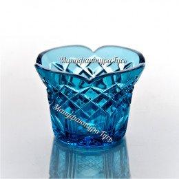 Хрустальный Лампадка-подсвечник цв.голубой