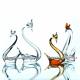 Хрустальное декоративное изделие «Лебедь» цв.янтарный