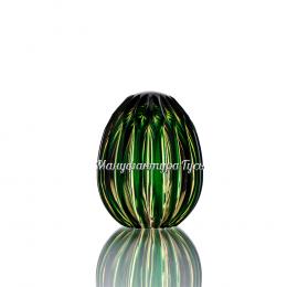 Хрустальное декоративное изделие «Яйцо-ромашка» цв.янтарно -зеленый