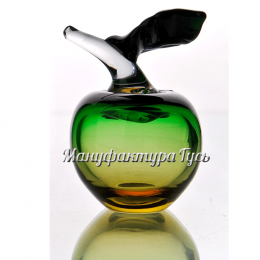 Хрустальное декоративное изделие «Яблоко» зеленое с янтарным
