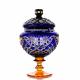 Хрустальная ваза для конфет «Любава» на ножке янтарной ,цв.синий