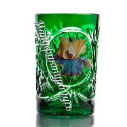 Хрустальный стакан с живописью цв.зеленый