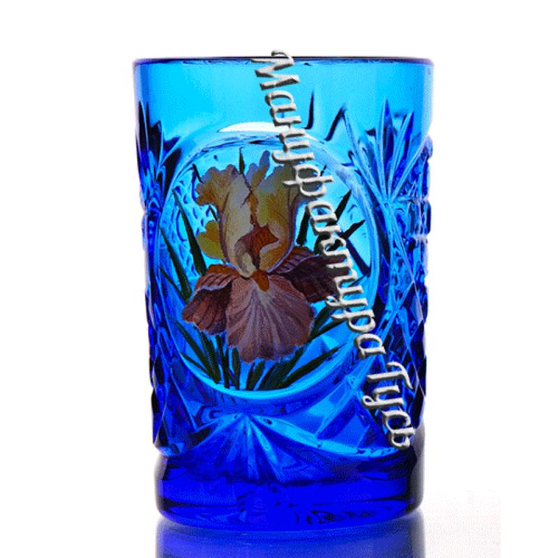 Хрустальный стакан с живописью цв.синий
