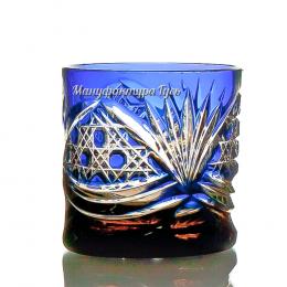 Хрустальный набор стаканов для виски 6шт цв.янтарно-синий