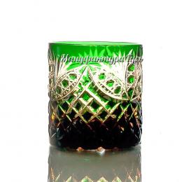 Хрустальный набор стаканов для виски 6шт цв.янтарно-зеленый