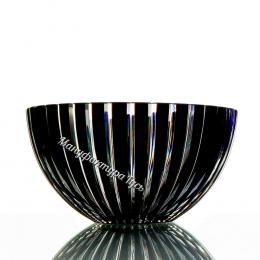 Хрустальная ваза для конфет  «Серенада» рис. произвольный цв.накладной:  бесцветно-черный