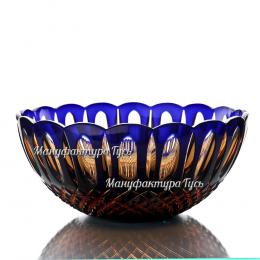 """Хрустальная ваза для фруктов """"Звездная карусель"""" произвольный рис. цв.накладной: янтарно-синий"""