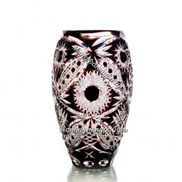 Хрустальная  ваза для цветов «Астра» мал. рис. произвольный цв.накладной:  накладной:  бесцветно-черный