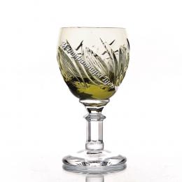 Хрустальный набор рюмок «Решка» цв. зеленый-болотный