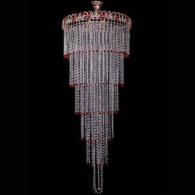 Люстра хрустальная  Капель № 8 с подвесом красная