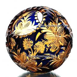 Хрустальная ваза для фруктов «Лукошко» рисунок «Георгины»